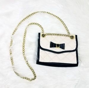 Betsey Johnson Bow Detail Chain Crossbody Purse